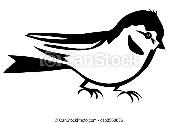 silhouette of the small bird on white background - csp8560636