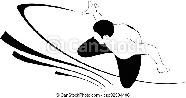 silhouette of the surfer surfer tries to catch the wave vector rh canstockphoto com