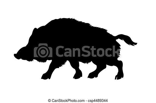 silhouette of the wild  boar isolated on white background - csp4489344