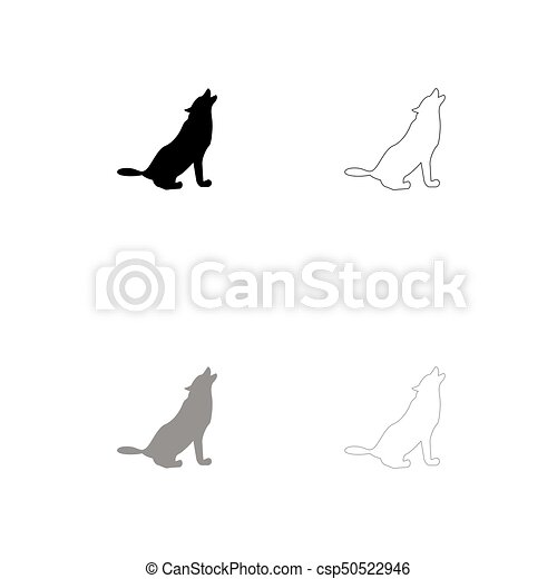 Silhouette of the wolf black and grey set icon . - csp50522946