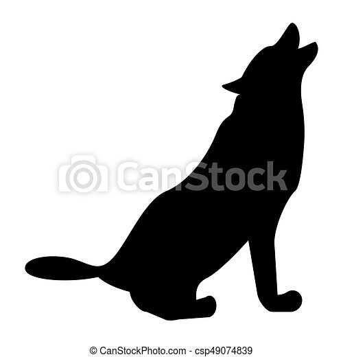 Silhouette of the wolf black color icon . - csp49074839