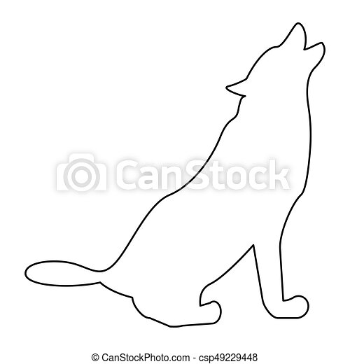 Silhouette of the wolf black color path icon . - csp49229448
