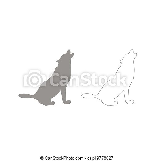 Silhouette of the wolf grey set icon . - csp49778027