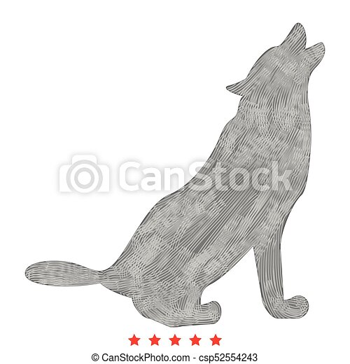 Silhouette of the wolf icon . Flat style - csp52554243