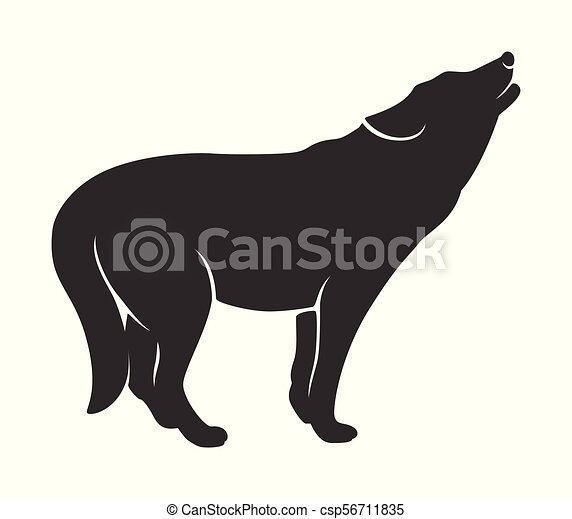 Silhouette of the wolf on a white background - csp56711835