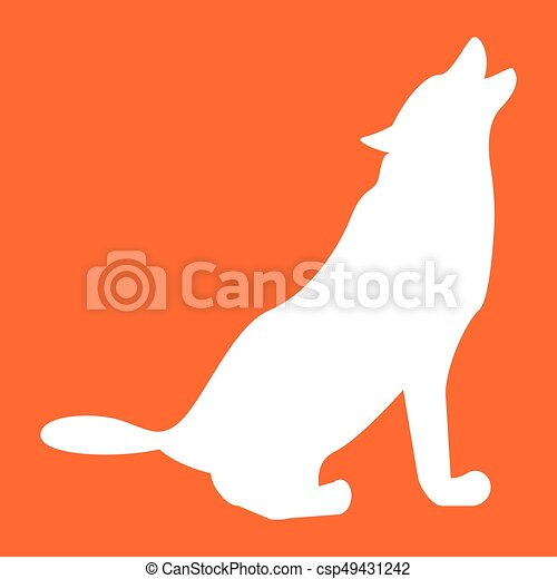 Silhouette of the wolf white color icon . - csp49431242