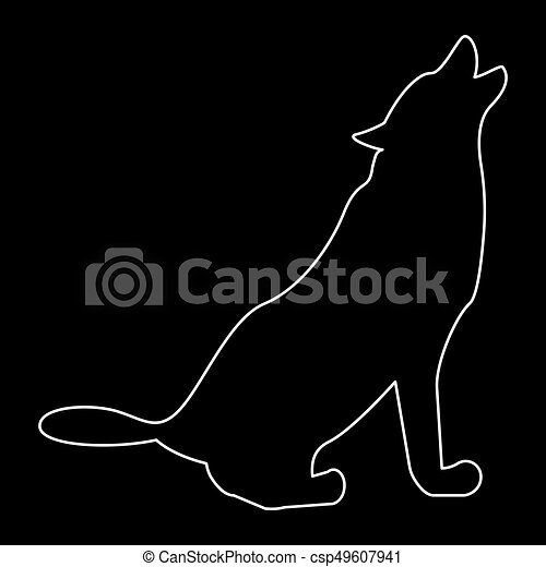 Silhouette of the wolf white color path icon . - csp49607941