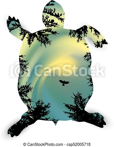 Silhouette of turtle - csp52005718