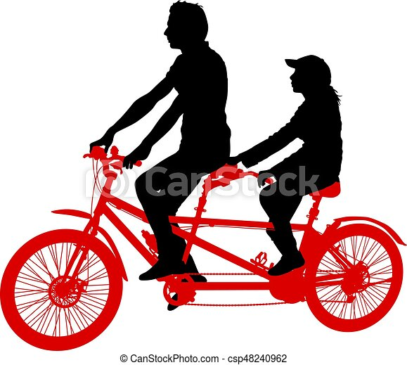 silhouette of two athletes on tandem bicycle on white clip art rh canstockphoto com tandem bike clipart free tandem bike clipart images