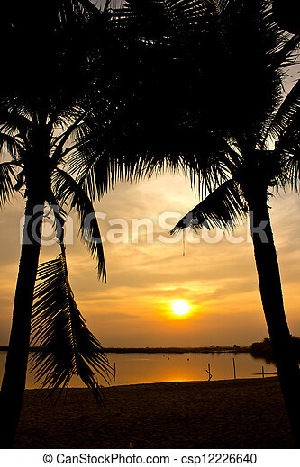 Silhouette of  two coconut tree and sunset on the beach - csp12226640