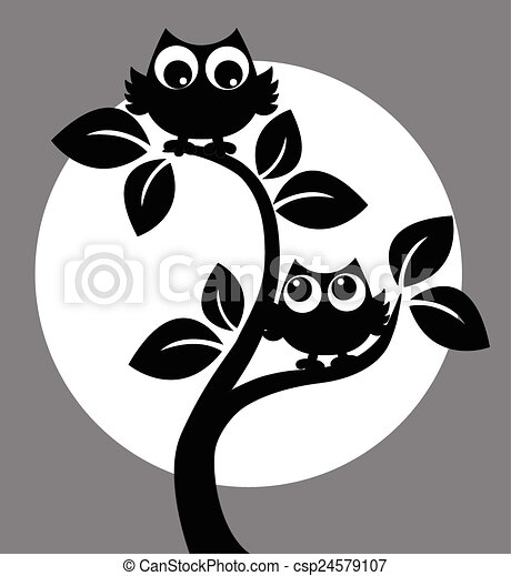 silhouette of two owls in a tree - csp24579107