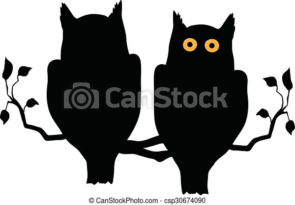 Silhouette of two owls on branch - csp30674090