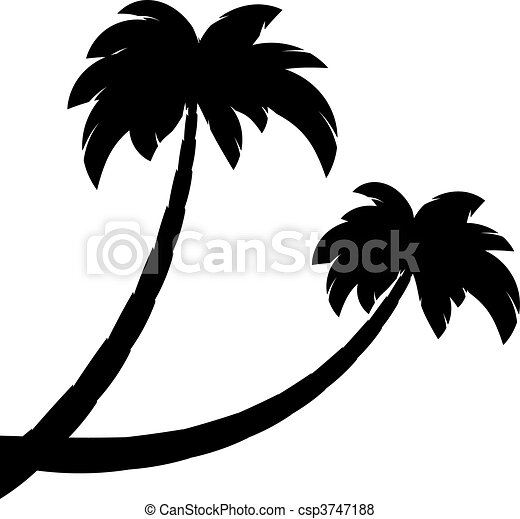 Silhouette of two palms - csp3747188