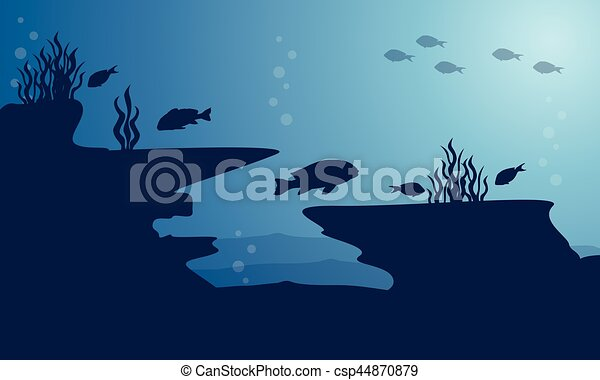 silhouette of underwater with fish on blue sea vector art