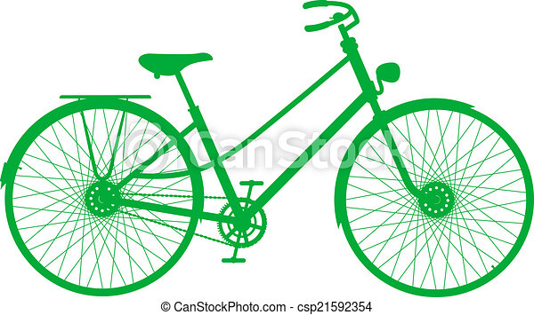 Silhouette of vintage bicycle - csp21592354
