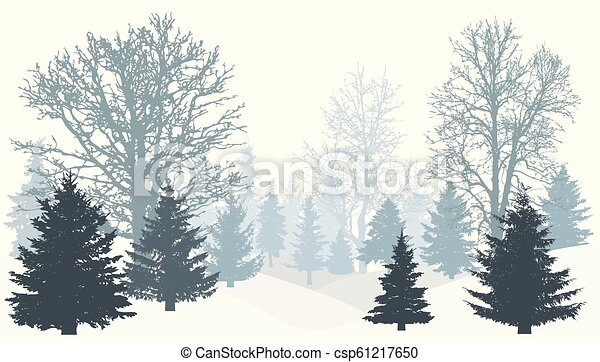 Christmas Trees Silhouette.Silhouette Of Winter Snowy Forest Tree Without Leaves Christmas Trees Firs Vector