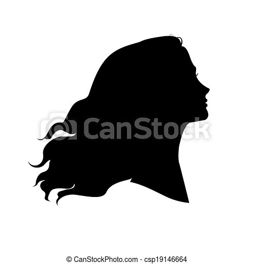 silhouette of woman s head with waving hair