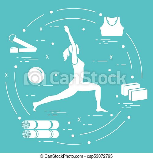Silhouette Of Woman Yoga Pose And Various Goods For Relax Meditate Healthy Lifestyle Balance Training Design Banner Print