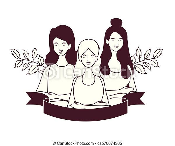 silhouette of women with garland and ribbon - csp70874385