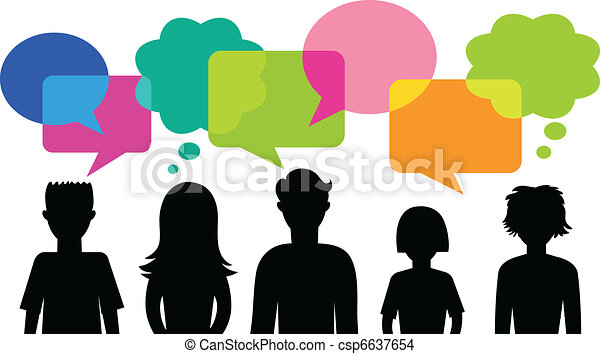 silhouette of young people with speech bubbles - csp6637654