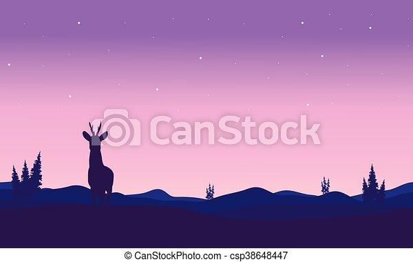 Silhouette of zebra in hills - csp38648447