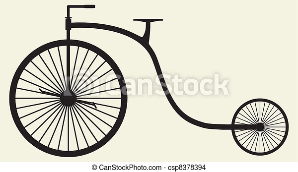 silhouette, oude fiets - csp8378394