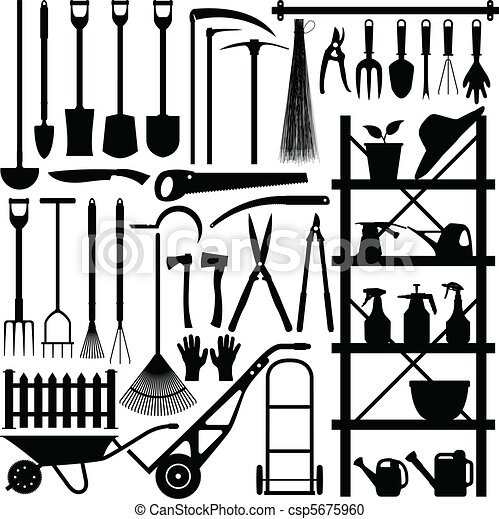 silhouette, outils jardinage - csp5675960