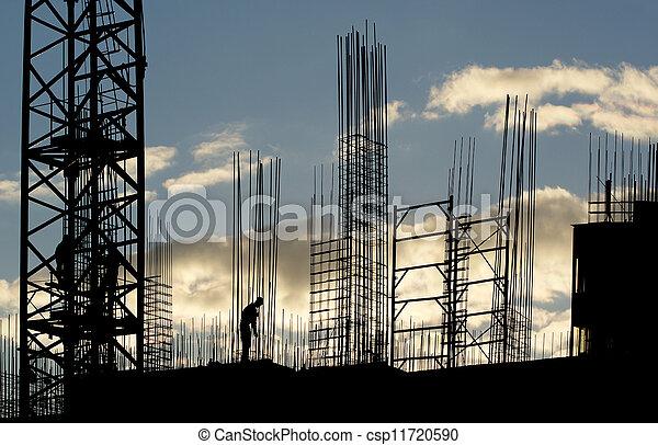 silhouette, ouvrier construction - csp11720590
