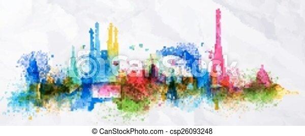 Silhouette overlay city Paris  - csp26093248