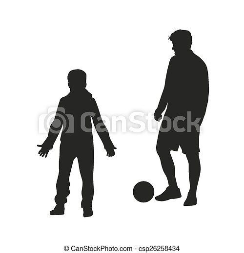 silhouette, père, football., fils, vecteur, jouer - csp26258434