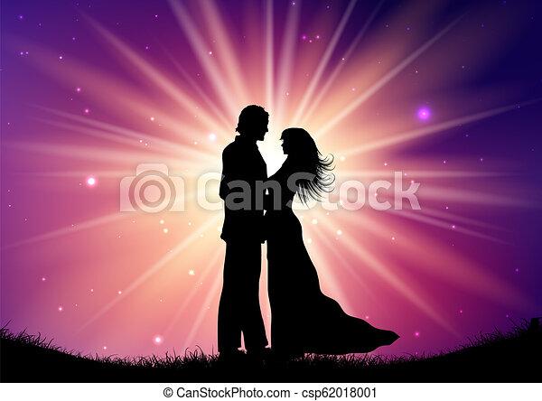 silhouette, paar, starburst, 0709, achtergrond, trouwfeest - csp62018001