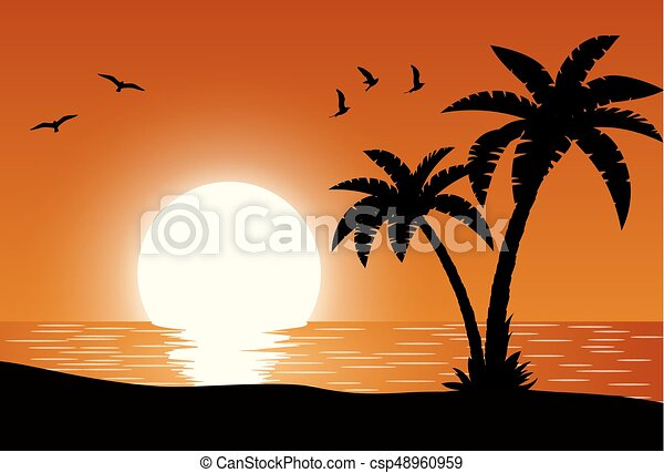 silhouette palm tree on beach under sunset sky background vector