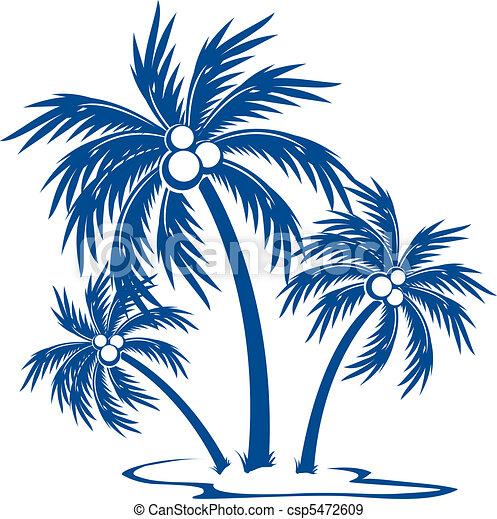 silhouette, palmiers - csp5472609