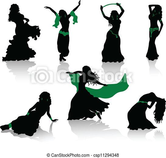 silhouette, pancia, bellezza, dance. - csp11294348