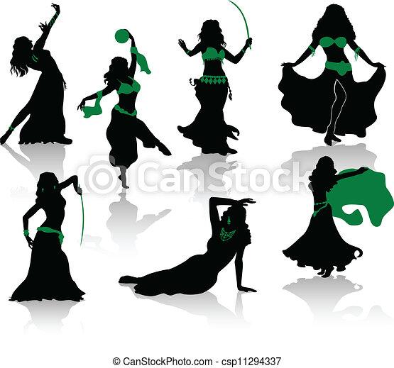silhouette, pancia, bellezza, dance. - csp11294337
