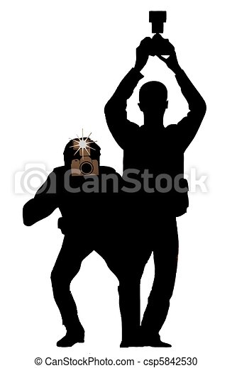 silhouette paparazzi stock illustration