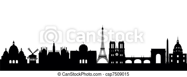 Silhouette Paris Abstract On White Clipart Vector