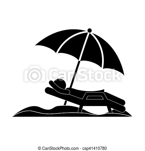 silhouette person in beach chair with umbrella