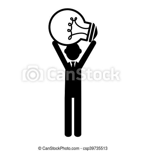 Silhouette Person Standing Idea Bulb