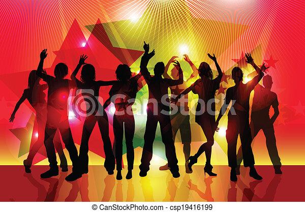 silhouette, persone, festa, ballo - csp19416199