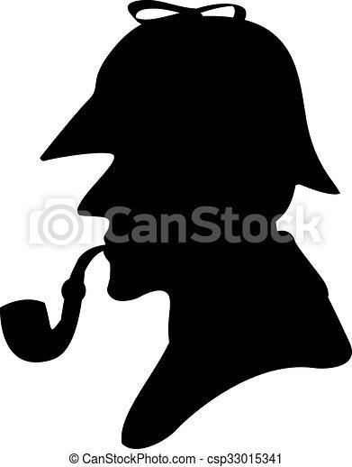 silhouette pipe smoker - csp33015341