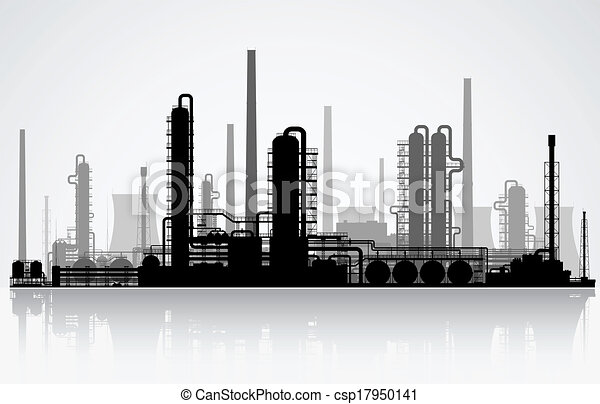 silhouette., raffinerie, huile - csp17950141