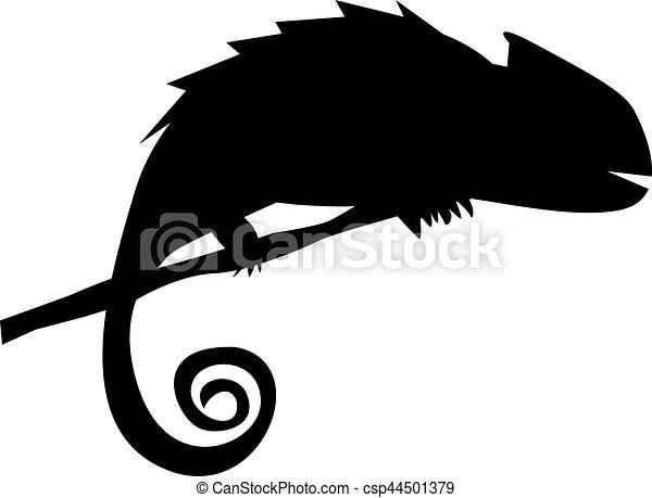 silhouette, ramo, camaleonte - csp44501379