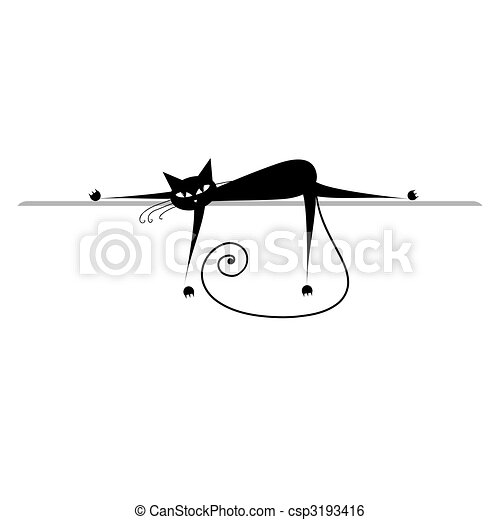 silhouette, relax., gatto, nero, disegno, tuo - csp3193416