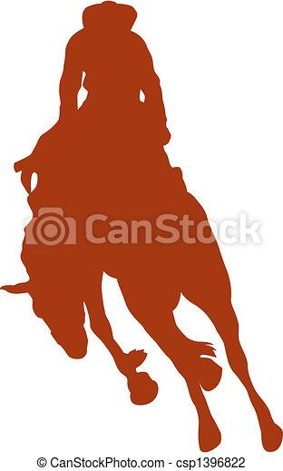 silhouette, rodéo, art, cavalier, signe - csp1396822