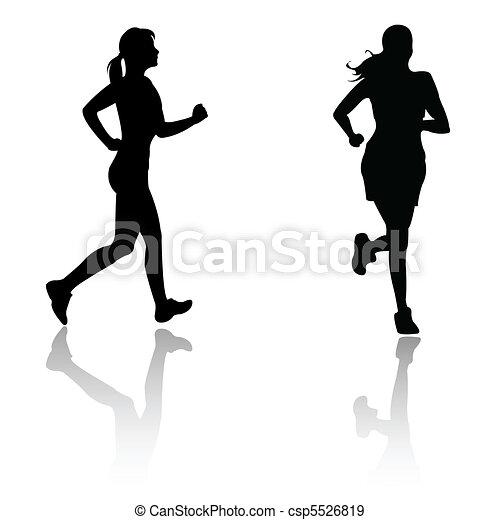 silhouette run woman  - csp5526819