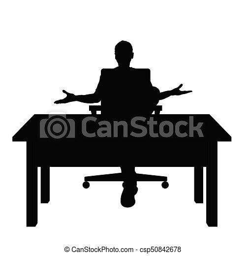 silhouette, séance, illustration, chaise bureau, homme - csp50842678