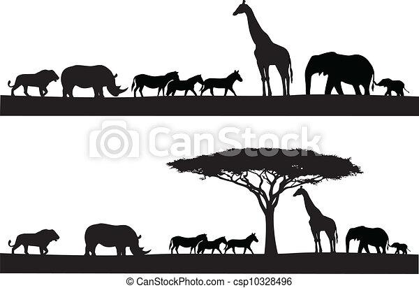 silhouette, safari, dier - csp10328496