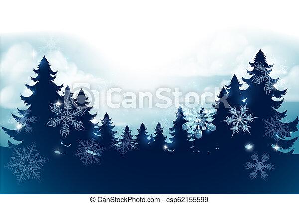 silhouette, scène, arbres, neige, fond, noël - csp62155599