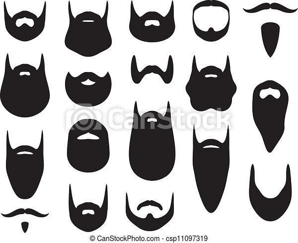 silhouette, set, barba - csp11097319
